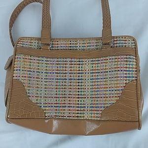 Bueno bag. Multi color front, braided straps.